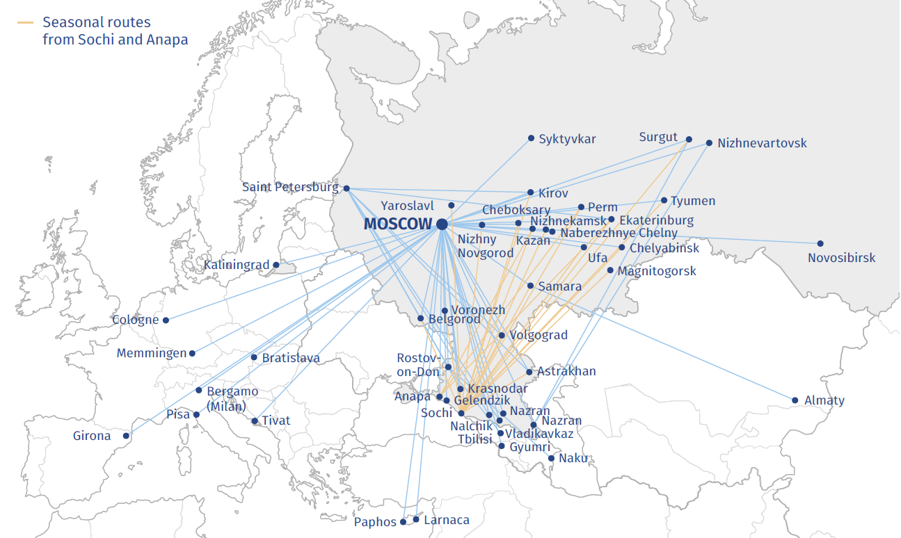Pobeda airline's route network in 2016